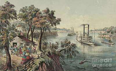 Planter Wall Art - Painting - Low Water In The Mississippi, 1868  by Currier and Ives