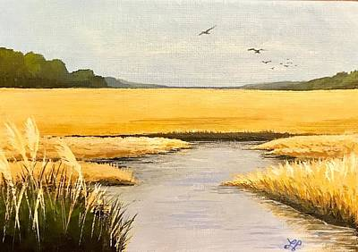 Marsh Grass Painting - Lowcountry  by Laura Parrish