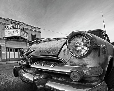 Photograph - Lowell Arizona Old Rusted Car Lowell Movie Theater Black And White by Toby McGuire