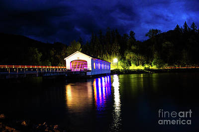 Photograph - Lowell Bridge Lighting Sky by Michael Cross