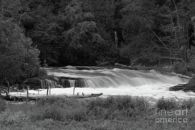Photograph - Lower Falls At Tahquamenon Grayscale by Jennifer White