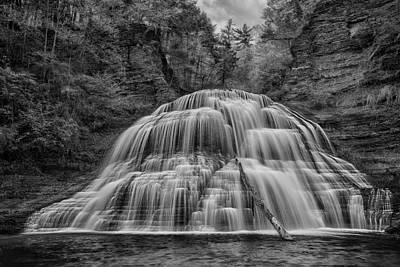 Finger Lakes Photograph - Lower Falls In Monochrome by Stephen Stookey