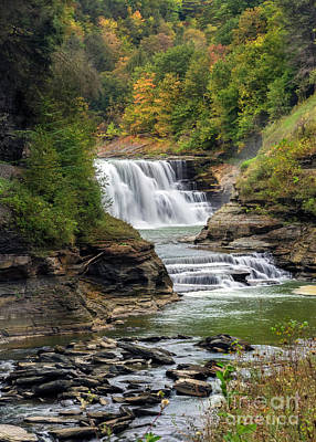 Photograph - Lower Falls Of Letchworth In Autumn by Karen Jorstad