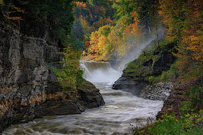 Fall Foliage New York Wall Art - Photograph - Lower Falls Of The Genesee River by Rick Berk