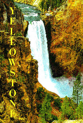 Painting - Lower Falls Of The Yellowstone by David Lee Thompson
