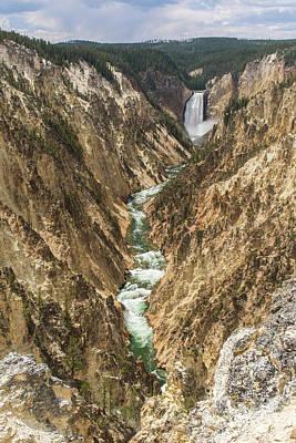 Lower Falls Of The Yellowstone - Portrait Art Print