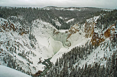 Photograph - Lower Falls Of The Yellowstone Winter Yellowstone National Park by NaturesPix