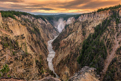 Photograph - Lower Falls Sunset Yellowstone Canyon Grk8004_05282018-hdr  by Greg Kluempers