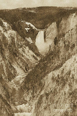 Photograph - Lower Falls Viewed From Artist Point Yellowstone National Park Wyoming Vintage Digital Art by Shawn O'Brien
