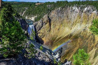 Photograph - Lower Falls With Rainbow, Yellowstone by Marilyn Burton