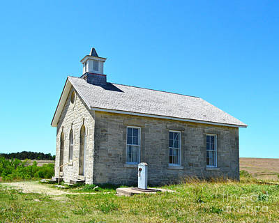 Flint Hills Of Kansas Photograph - Lower Fox Creek Schoolhouse Under Blue Skies by Catherine Sherman