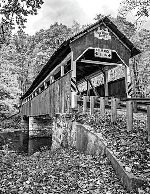 Photograph - Lower Humbert Covered Bridge 2 Bw by Steve Harrington