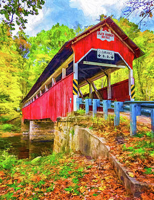 Photograph - Lower Humbert Covered Bridge 2 - Paint 2 by Steve Harrington