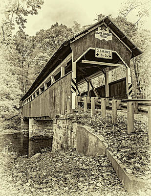 Photograph - Lower Humbert Covered Bridge 2 - Sepia by Steve Harrington