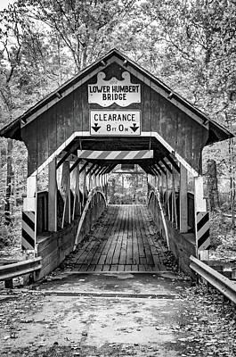 Photograph - Lower Humbert Covered Bridge 5 Bw by Steve Harrington