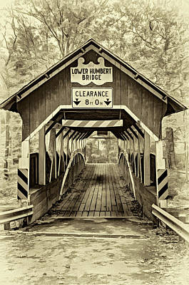 Covered Bridge Photograph - Lower Humbert Covered Bridge 5 - Sepia by Steve Harrington