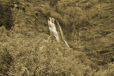 Photograph - Lower Level Bridal Veil Falls Provo Canyon Utah Photograph In Sepia by Colleen Cornelius