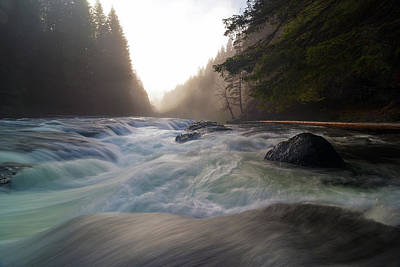 Photograph - Lower Lewis River Falls During Sunset by David Gn