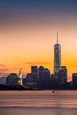 Photograph - Lower Manhattan And The Statue Of Liberty At Sunrise by Mihai Andritoiu