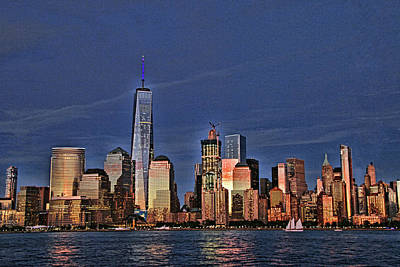 Lower Manhattan At Twilight Art Print by Allen Beatty
