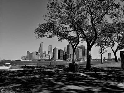 Photograph - Lower Manhattan From Governers Island B W by Rob Hans