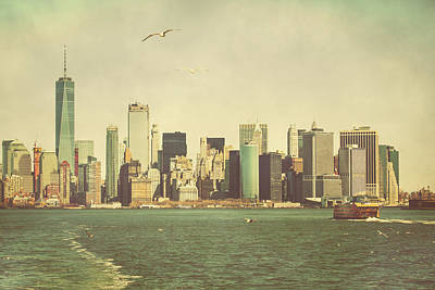 Lower Manhattan From The Ferry Art Print by Erin Cadigan