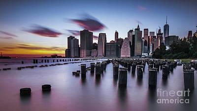 Lower Manhattan Purple Sunset Art Print
