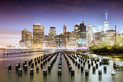 Photograph - Lower Manhattan Skyline Reflected In The East River At Dusk, New by Matteo Colombo
