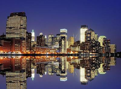 Clear Sky Photograph - Lower Manhattan Skyline by Sean Pavone