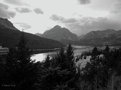 Photograph - Lower Two Medicine Lake In Black And White by Tracey Vivar