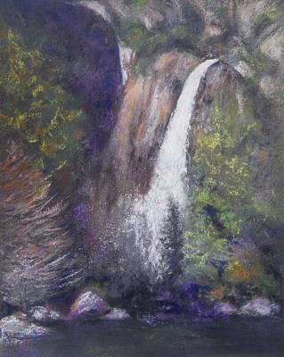 Pastel - Lower Yosemite Falls by Sandra Lee Scott