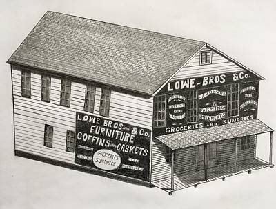 Drawing - Lowe Brothers Hardware  by Tony Clark