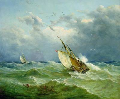 Landscape Painting - Lowestoft Trawler In Rough Weather by John Moore