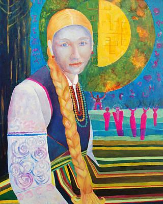 Slav Painting - Polish Folk Art Woman  by Magdalena Walulik