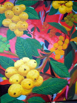 Art Print featuring the painting Lowquats In Hot Spring by Hilda and Jose Garrancho