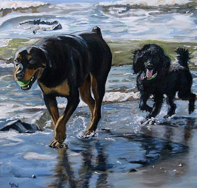 Dog Portrait Painting - Lowtide Playground by Kellie Straw
