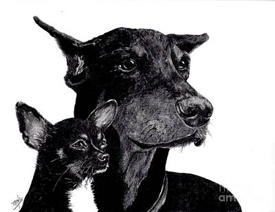 Pinscher Drawing - Loyal Companions by Terri Mills