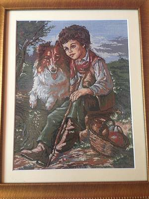 Needlepoint Painting - Loyal Friendship After Faine by Maria Filip