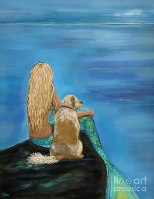 Painting - Loyal Mermaids Friend by Leslie Allen