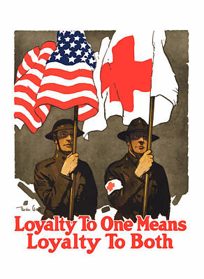 Us Flag Painting - Loyalty To One Means Loyalty To Both by War Is Hell Store