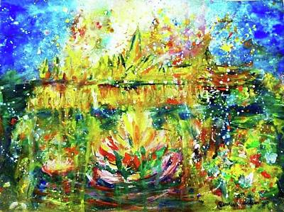 Painting - Loykrathong At The Chao Phraya River by Wanvisa Klawklean