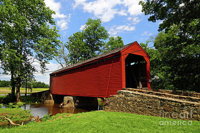 Old Country Roads Photograph - Loys Station Covered Bridge Frederick County Maryland by James Brunker
