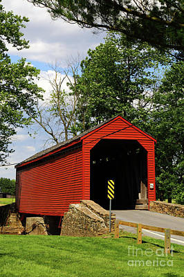 Old Country Roads Photograph - Loys Station Covered Bridge Near Thurmont Maryland by James Brunker