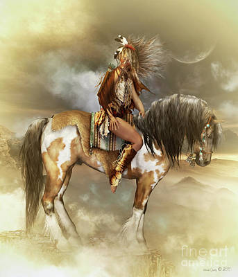 Native American Horse Digital Art - Lozen by Shanina Conway
