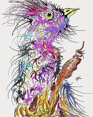 Digital Art - Lsd Bird 2 by Darren Cannell
