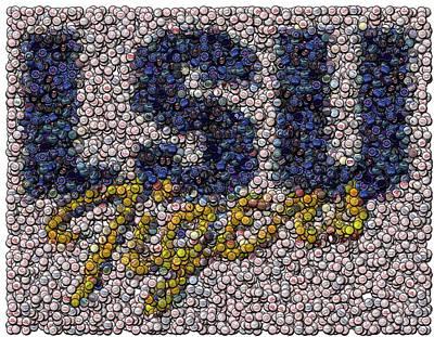 Lsu Bottle Cap Mosaic Print by Paul Van Scott