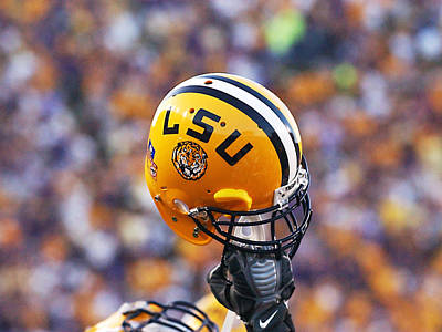 Athletic Photograph - Lsu Helmet Raised High by Louisiana State University