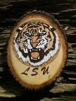 John Pitre Pyrography - Lsu Tiger by John Pitre