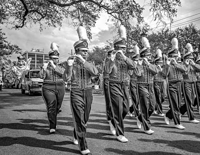 Louisiana State University Photograph - Lsu Tigers Band 5 - Bw by Steve Harrington