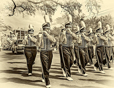 Louisiana State University Digital Art - Lsu Tigers Band 5 - Sepia by Steve Harrington
